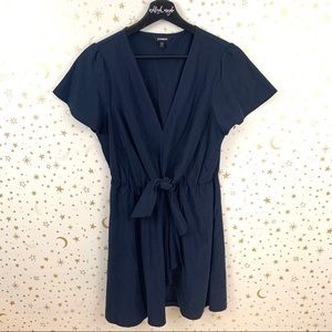 Express | Navy Blue Tie Wrap Front Mini Dress